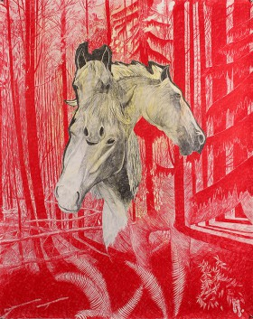 horses-red-bw